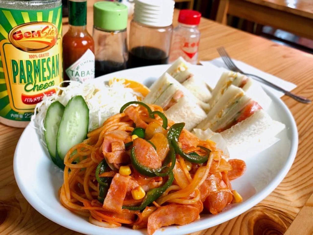 伊佐市_喫茶びっく_スパゲティとサンドイッチのセット