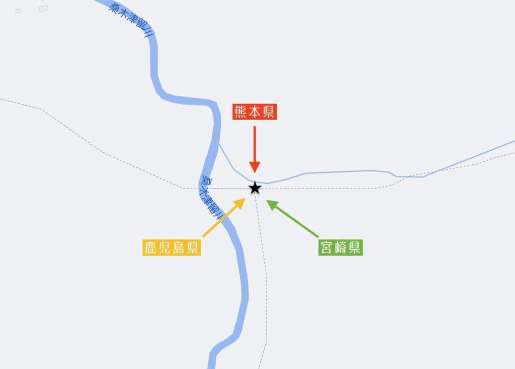 鹿児島県・熊本県・宮崎県の三県境_マップ